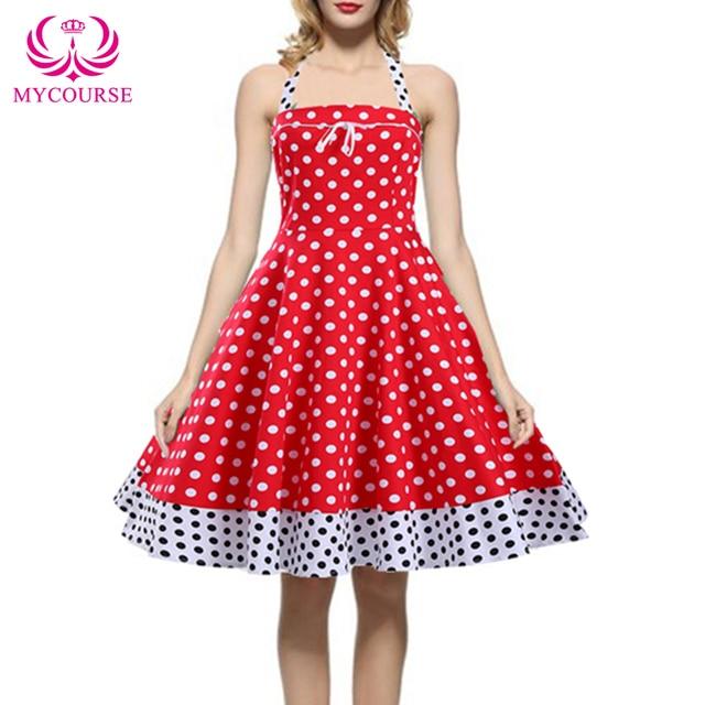 49fa1bd318 MYCOURSE 2016 Summer Style Women Audrey Hepburn Dress Big Swing Polka Dot  Print Vintage 1950s Rockabilly Swing Pinup Tea Dress free shipping worldwide