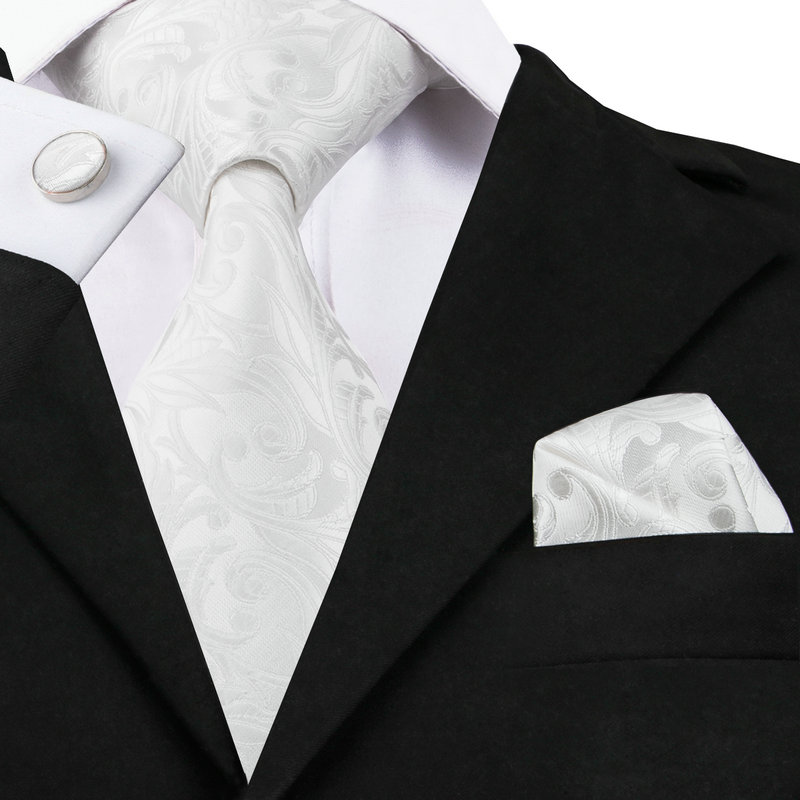 SN-1163 New Brand Ties Novelty White Color Tie Hanky Cufflinks Set 100% High Quality Silk Men's Neck Tie Factory Price