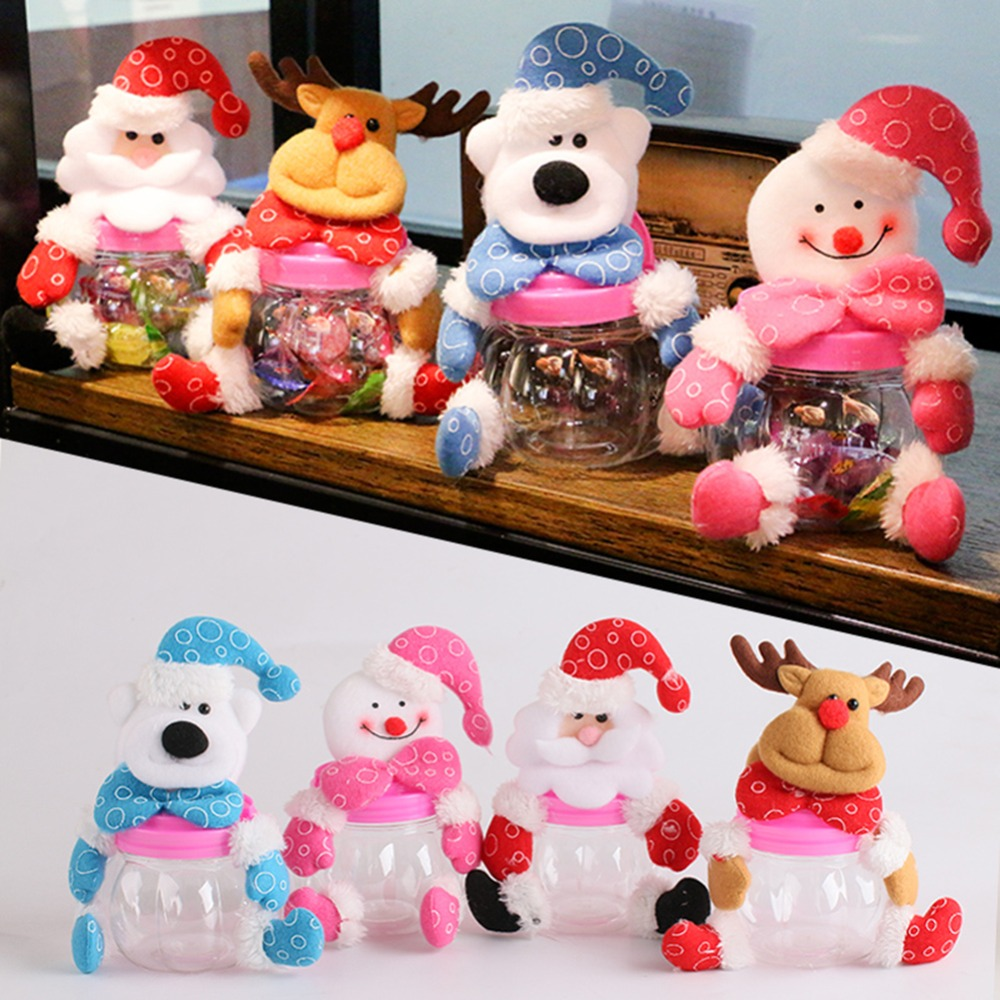 Christmas Santa Claus Elk Snowman Candy Jars Container Christmas Ornaments Kids Gifts Holi