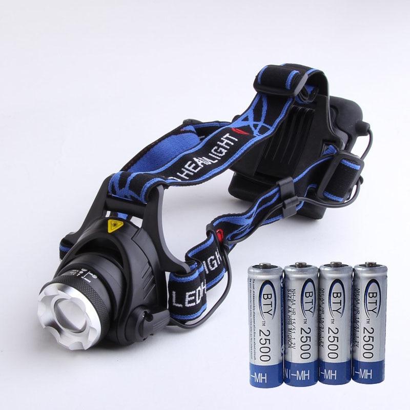 Wasserdicht XM-L T6 LED 5000 Lumen Scheinwerfer Kopf Lampe Zoom Scheinwerfer + 4x2500 mah 1,2 v AA Ni-Mh akku