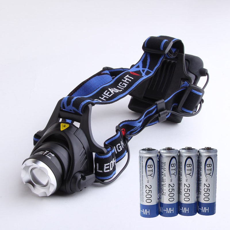 Waterproof XM-L T6 LED Headlight Head Lamp Zoom Headlamp + 4 X 2500mAh 1.2V AA Ni-MH Rechargeable Battery