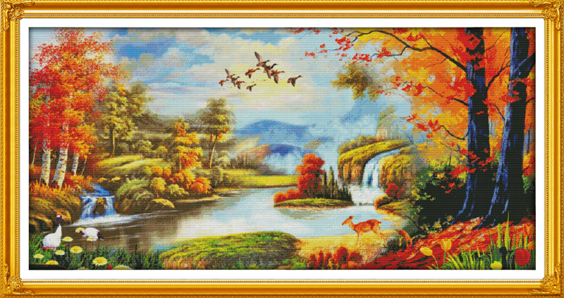 Buona fortuna Autunno Tela Stampata DMC Contato Kit Punto Croce Cinese stampati Cross-stitch set Embroidery NeedleworkBuona fortuna Autunno Tela Stampata DMC Contato Kit Punto Croce Cinese stampati Cross-stitch set Embroidery Needlework