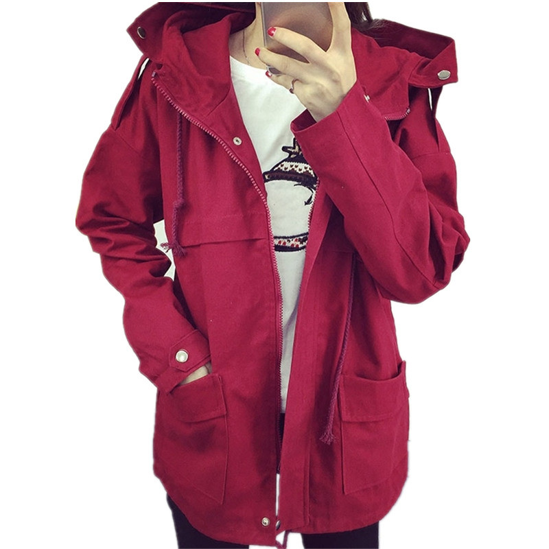 Women Trench font b Coat b font 2017 Korean Plus Size Loose Student Casual Trench font
