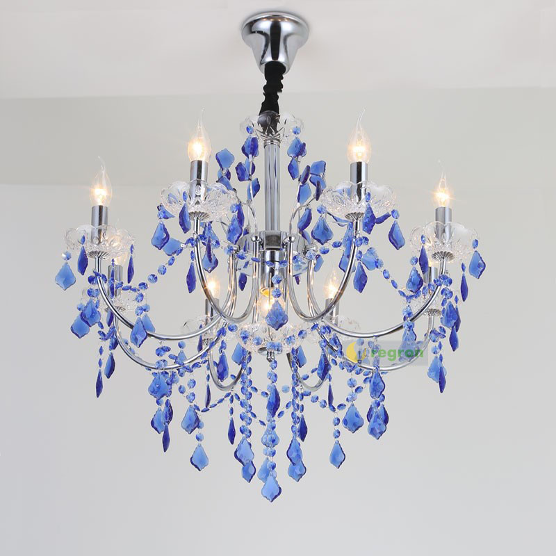 Us 234 03 13 Off High Ceiling Modern Chandeliers Candle Light Romantic Bedroom Lamp Living Room Restaurant Blue Crystal Chandelier Hanging Lamp In
