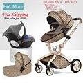 Gratis Verzending Luxe Kinderwagen Hoge Land-Scape Kinderwagen 3 in 1 Hotmom Vervoer