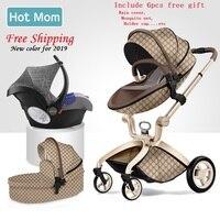 O Envio gratuito de Carrinho De Bebê De Luxo Alta Terra-Transporte 3 em 1 Mãe Gostosa Scape carrinho De bebê