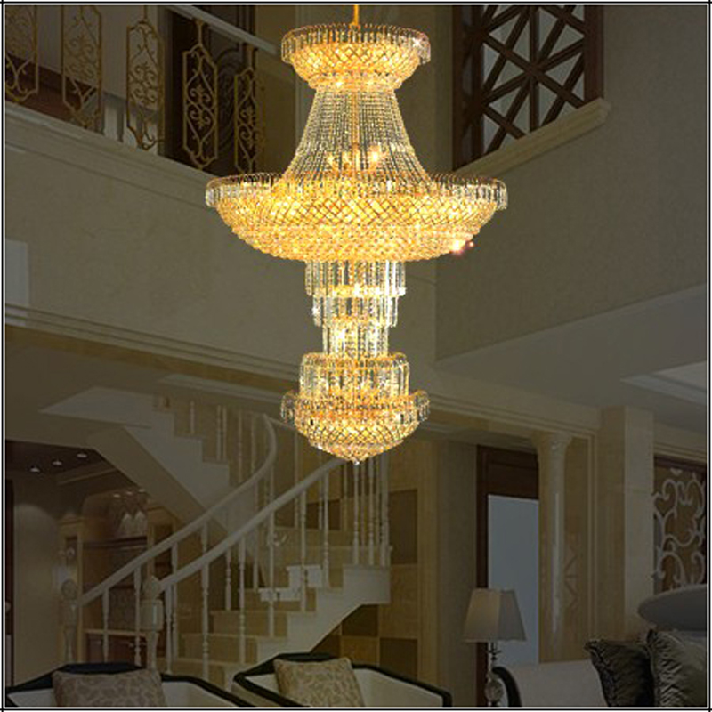 Hotel Lobby Crystal Chandelier Modern High Ceiling Led Lamp Chandeliers Gold Largest Multi Lights In From