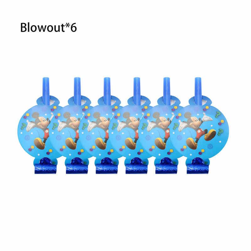 Микки Маус с днем рождения украшения одноразовые столовые приборы чашка тарелка соломенные салфетки мальчик синие вечерние принадлежности детский душ