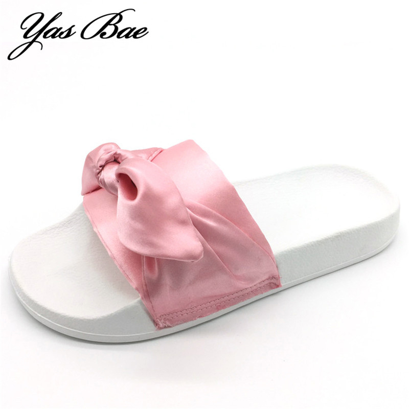 2017 fashion rihanna designer shoe flat with satin big bow lady beach slide female knot green bowtie silk slipper for women pink цена