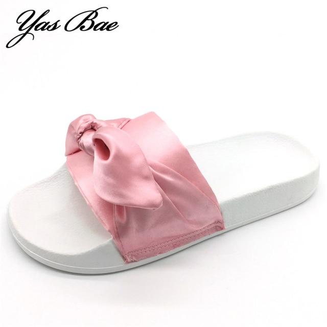 2019 fashion rihanna designer shoe flat with satin big bow lady beach slide  female knot green bowtie silk slipper for women pink acd7662b5