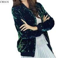 LXUNYI 2018 Spring Autumn Woman Short Coat Korean Women Sequins Jacket Long Sleeve Slim Fashion Female