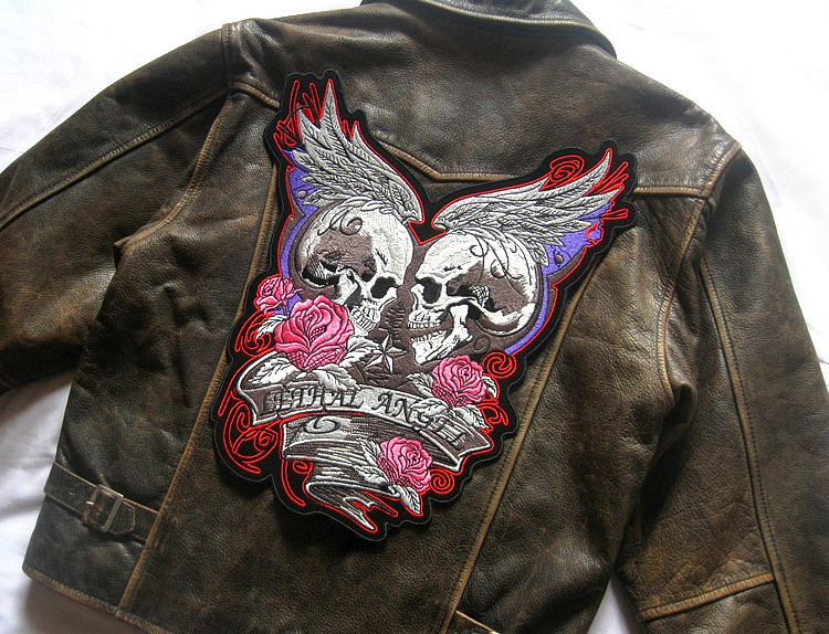 US $35 99 |Embroidered Iron On Patches Big Size Punk Skeleton Angel Devil  Biker Army Patches For Female Jacket Garment New Hot Sale-in Patches from