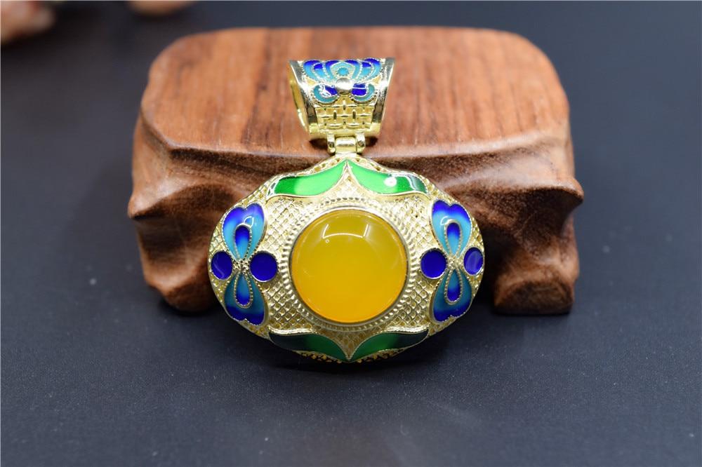 все цены на Thai silver Natural Yellow lapis lazuli pendant sweater chain, cloisonne enamel pendant