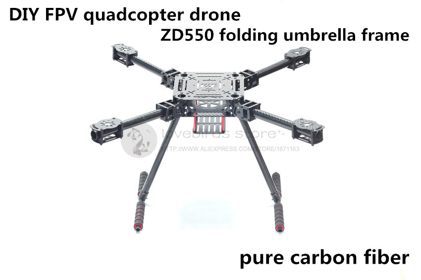 DIY FPV Aerial quadcopter drone ZD550 Umbrella folding frame pure carbon fiber 20mm wing tube with landing gear rc drones quadrotor plane rtf carbon fiber fpv drone with camera hd quadcopter for qav250 frame flysky fs i6 dron helicopter