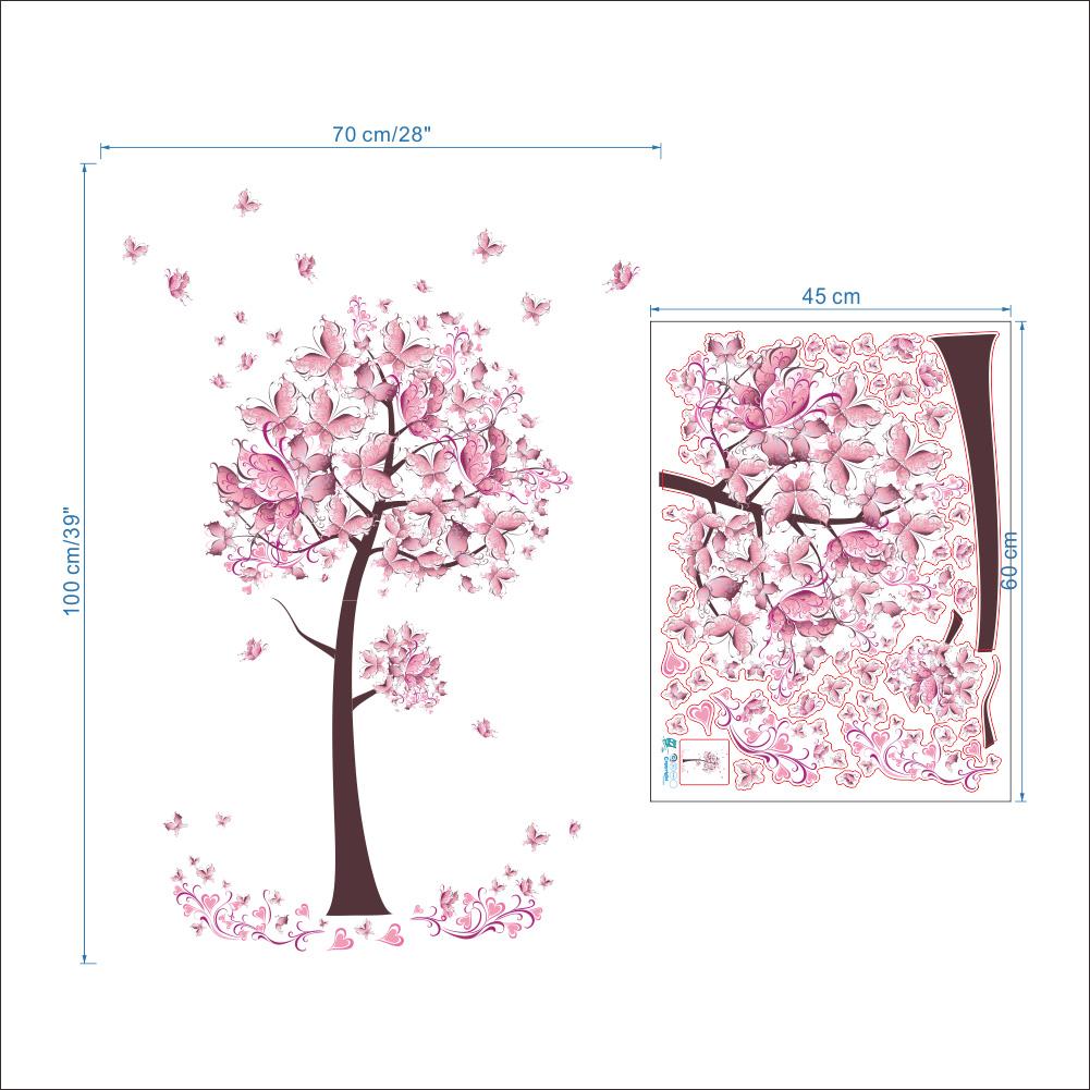 Farfalle Fai Da Te acquista adesivi murali decorazioni murali la casa fiori rosa farfalle  albero camerette decorazione camera da letto poster fai da te adesivi  murali
