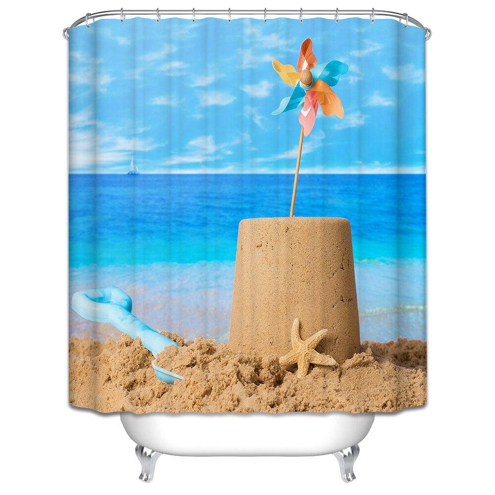 Horse Themed Bathroom Decor Beach Fabric Shower Curtain