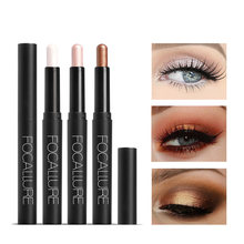 FOCALLURE 12 colors glitter single eyeshadow pencil easy to wear professional eyes shadow pigments shimmer eye shadow stick(China)