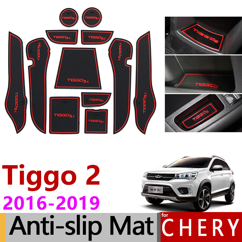 Anti-Slip Rubber Gate Slot Cup Mat for Chery <font><b>Tiggo</b></font> <font><b>2</b></font> 2016 2017 2018 2019 Tiggo2 <font><b>Tiggo</b></font> 3x MVM X22 DR3 Accessories Car Stickers image