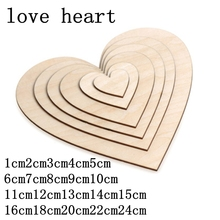 5-100 pcs DIY Blank Heart Wood Slices Discs Love Unfinished Natural Crafts Supplies Wedding Ornaments 1cm-24cm
