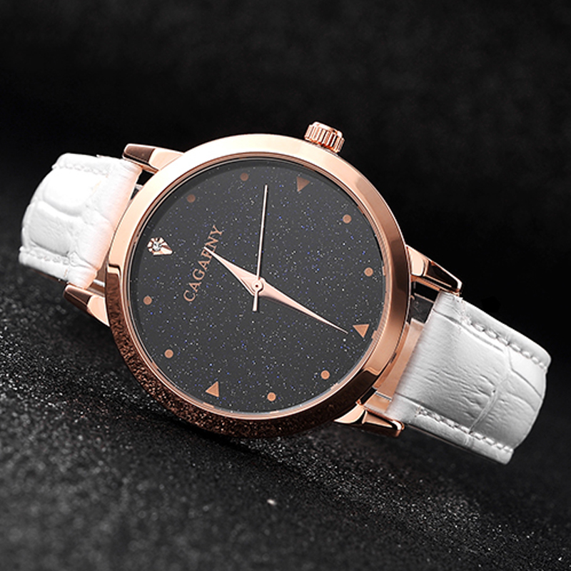 luxury brand cagarny quartz watch for women blue sky dials creative casual ladies watches rose gold case drop shipping (43)