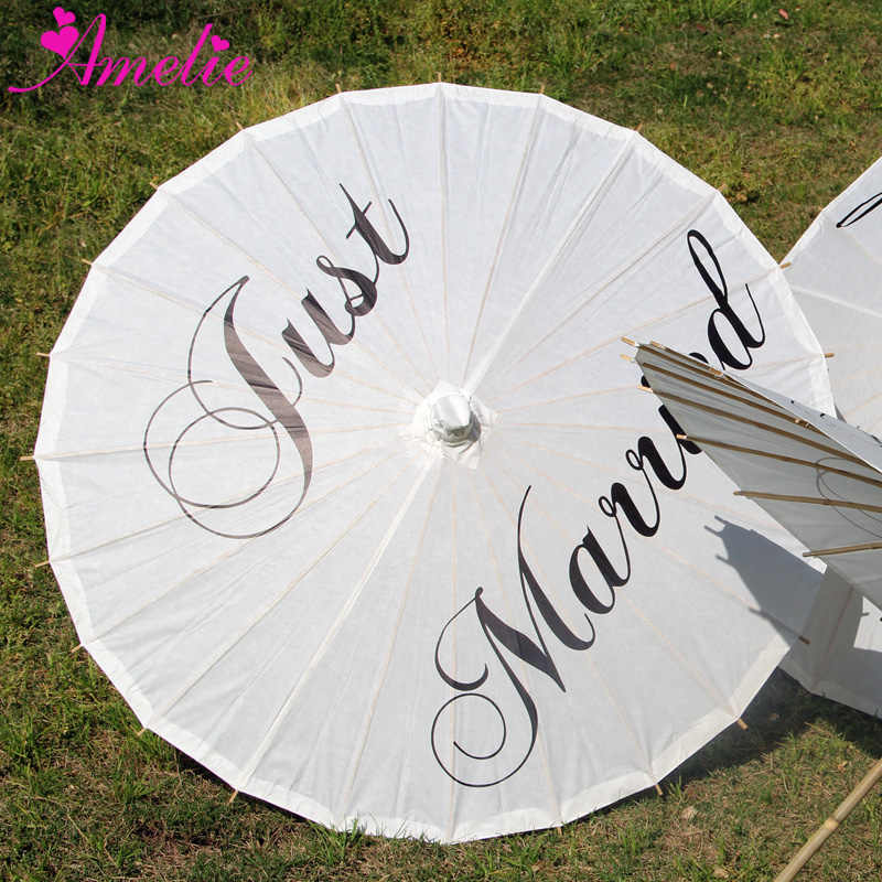 Chinese Traditional Handicraft Handmade Rice Paper Parasol Wedding Just Married Print Paper Umbrella Party Gifts