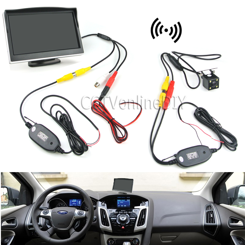 Car Rearview Backup System Wireless Waterproof Reversing Camera + 5 TFT LCD Monitor with Paste Base and Sucking Disc Bracket