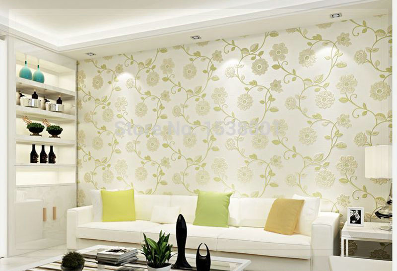 Simple Bedroom Wallpaper european simple wallpaper green leaf design non woven wallpaper