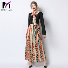2019 Spring Summer Runway Maxi Dress Women's High Quality Long Sleeve Round Collar Lace Up Plaid Patchwork Pleated Casual Dress недорого