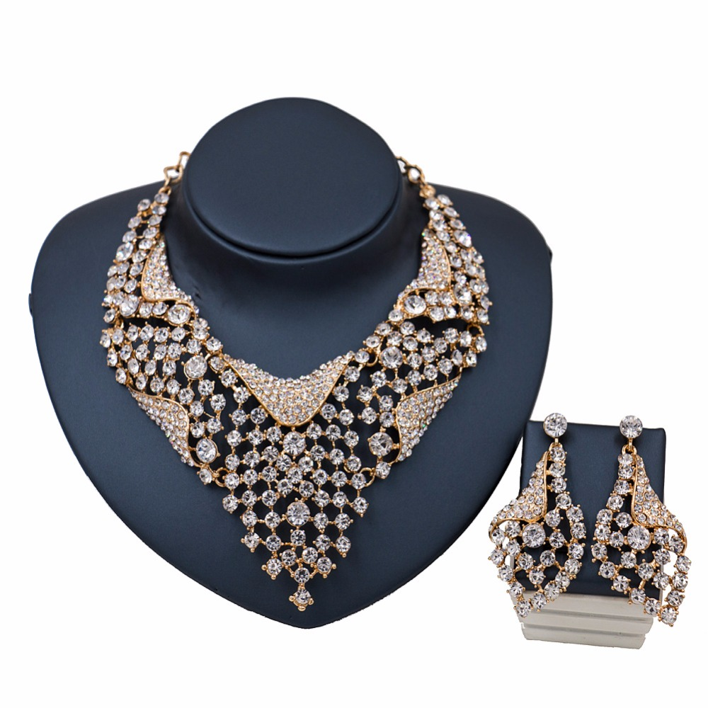Dubai Fashion Rhinestones Crystal Bridal Jewelry Sets Wedding Necklace Earring For Women Brides Party Prom Costume AccessoriesDubai Fashion Rhinestones Crystal Bridal Jewelry Sets Wedding Necklace Earring For Women Brides Party Prom Costume Accessories