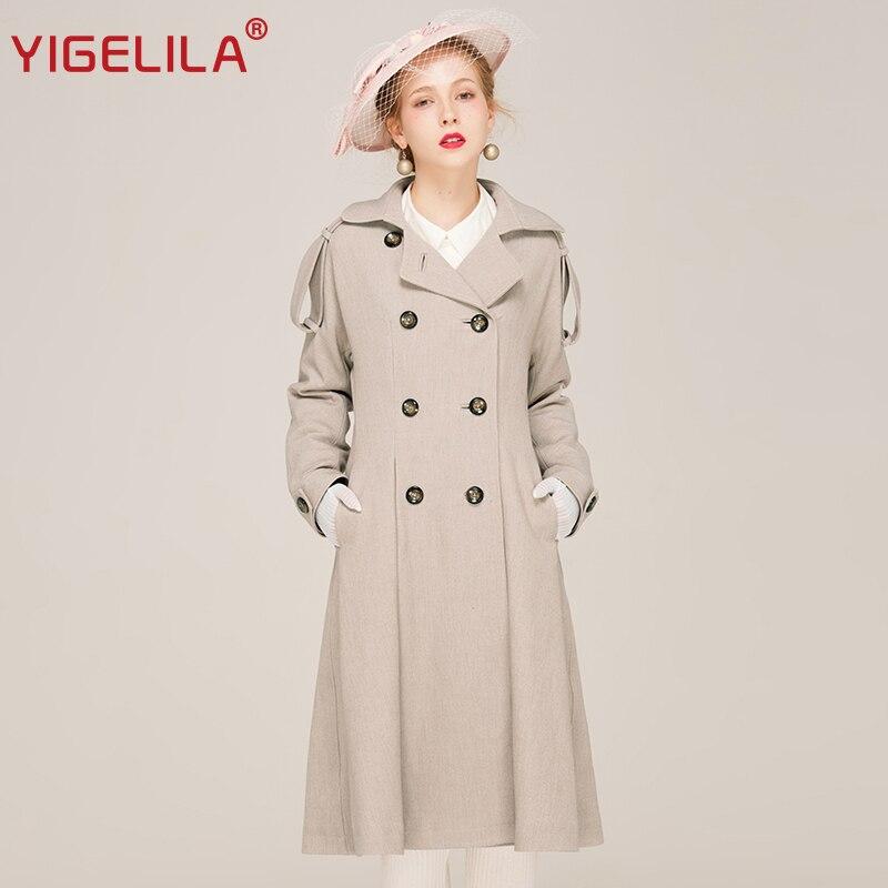 YIGELILA 9543 Nejnovější 2019 podzimní ženy Vintage vypnout límec Double Breasted solid Trench Coat