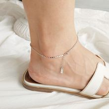 Silvology 925 Sterling Silver Flat Bead Chain Anklets Elegant Minimalist Beach for Women Foot Decoration Jewelry