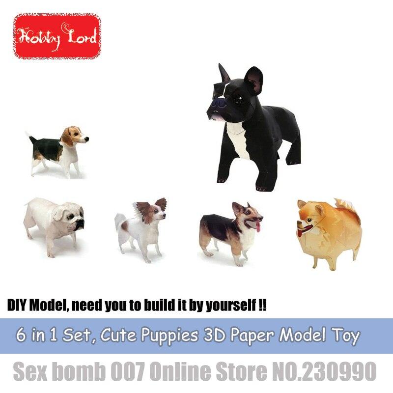 ᗛDIY 6in1 perro 3D papel modelo bulldog francés Papillon pomeranin ...
