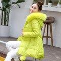 Para baixo Mulheres Jaqueta Wadded Casaco de Inverno Solto Plus Size 3XL Parka Gola de Pele Com Capuz Mulheres Casaco de Inverno Jaqueta De Algodão Feminino C2542