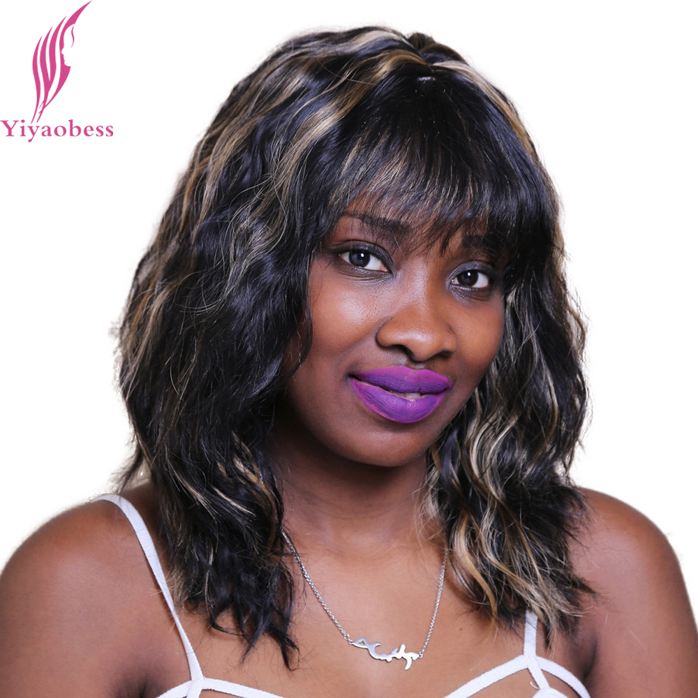 Yiyaobess 45cm Puffy Wavy Black Brown Highlighted Wigs For African American Women Synthetic Hair Shoulder Length With Bangs