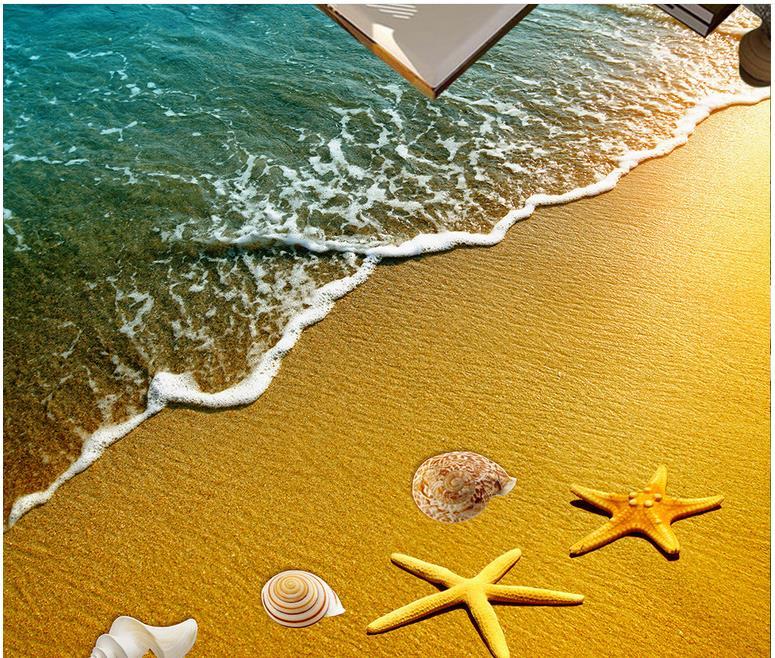 Custom Wallpaper 3d Flooring Wallpaper For Walls 3d Surf Beach 3d