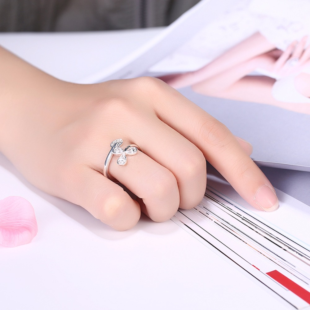 MEEKCAT Fashion Flower And Leaf Design AAA+ Tiny CZ Finger Ring 925 ...