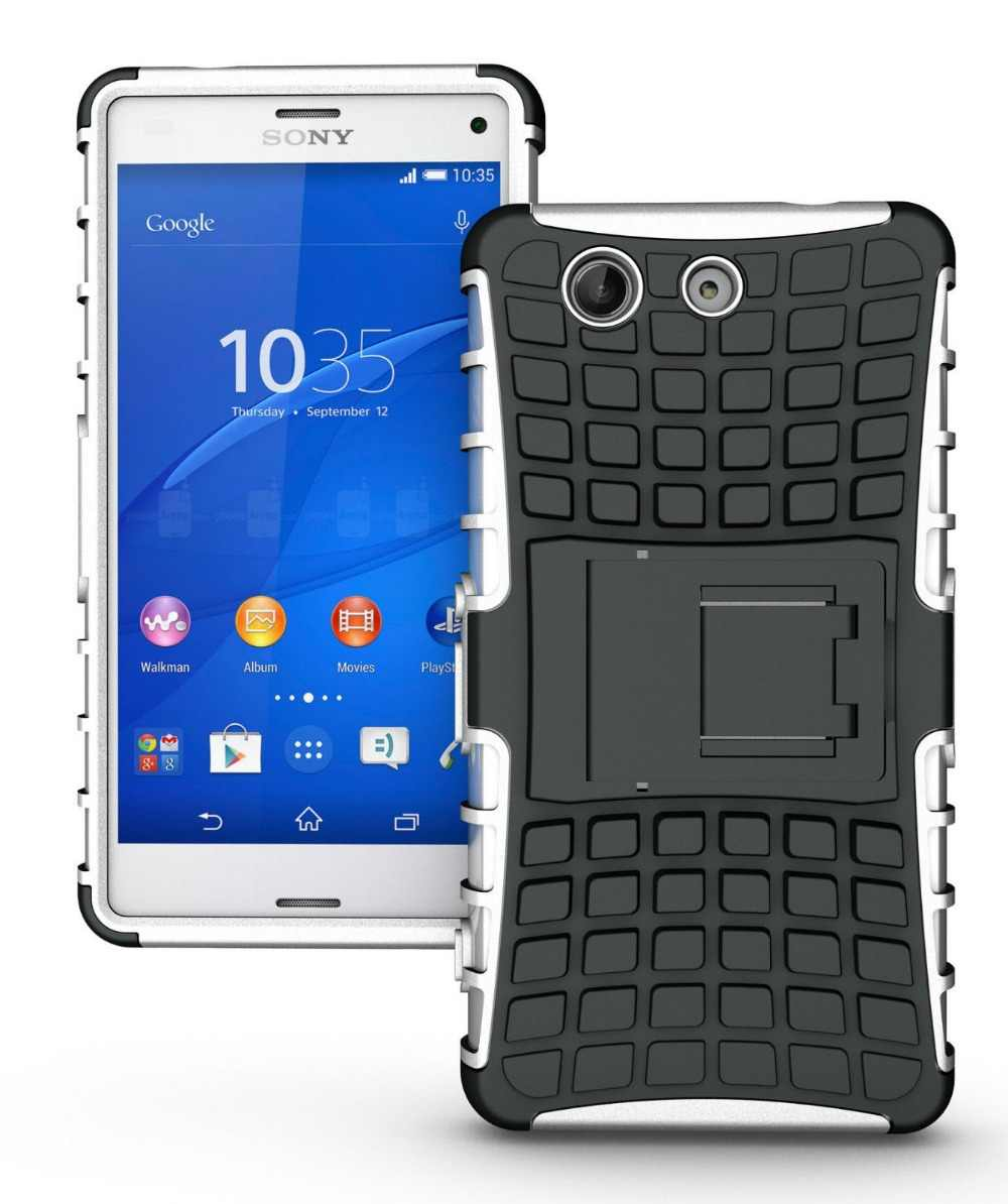 pretty nice 9daeb 92410 Heavy Duty Shock Absorbing Cover Case For Sony Xperia Z2 Z3 Compact M4 M5  Cover Stand Hard Silicone Armor Case For Sony Z2 Z3 Z3