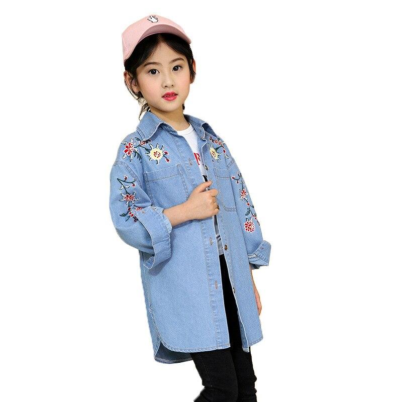 Flower Embroidery Girl Denim Jackets Single-Breasted Denim Coats Shirts Kids Trench Coat For Girl Long Jackets Children Clothing vintage single breasted solid color furcal denim suspender skirt