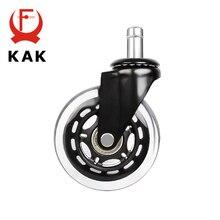 """KAK rueda silenciosa Universal de 3 """"para silla con ruedas de oficina, repuesto de ruedas de 60KG, ruedas de goma de seguridad suave, accesorios para ruedas de muebles, 5 uds."""