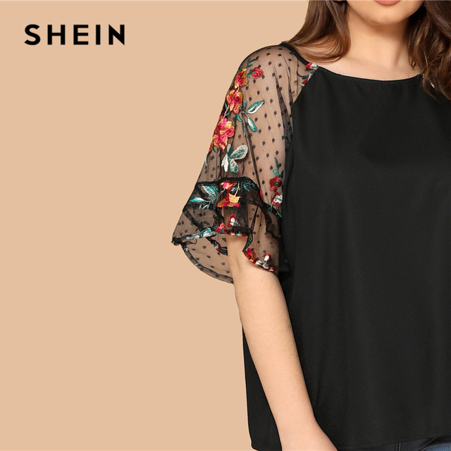 SHEIN Plus Size Black Flower Embroidery Mesh Sleeve Top Blouse Women Summer Elegant Short Sleeve Sheer Solid Round Neck Blouses 4