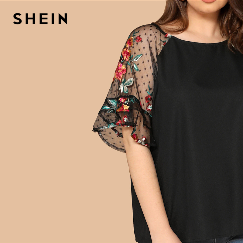 SHEIN Plus Size Black Flower Embroidery Mesh Sleeve Top Blouse Women Summer Elegant Short Sleeve Sheer Solid Round Neck Blouses