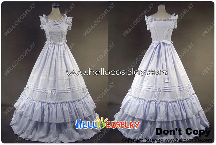 Southern Belle Gothic Lolita Ball Gown White Dress Prom H008