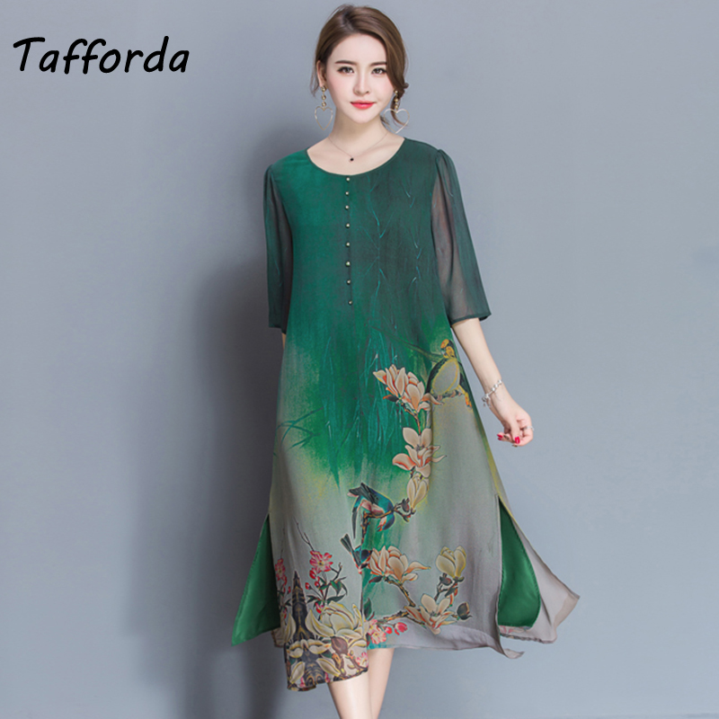 Tafforda M-4XL Plus Size New Spring Summer Silk Dress Chinese Style Dress High Quality Loose Print Party Women's Dress Female