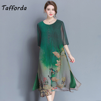 Tafforda M 4XL Plus Size New Spring Summer Silk Dress Chinese Style Dress High Quality Loose Print Party Women's Dress Female