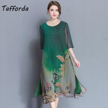 23a657d47 Tafforda M-4XL más el tamaño nuevo vestido de seda de Primavera Verano  vestido de estilo chino de alta calidad de impresión suelta del vestido de  las ...