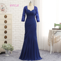 Plus Size Royal Blue 2018 Mother Of The Bride Dresses Mermaid 3/4 Sleeves Lace Long Evening Dresses Mother Dresses For Wedding