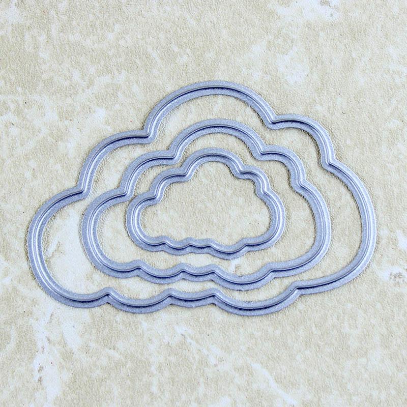 3pcs Clouds Metal Cutting Dies Scrapbooking Stencils Embossing