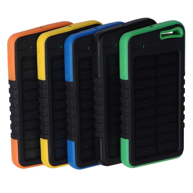 5000 mAh Solar Banco de la Energía Dual USB Cargadores de Batería A Prueba de agua pastillas de Poderes de Copia de seguridad Externa para actividades al aire libre para todos los teléfonos