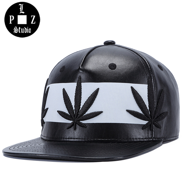 PLZ PU Leather Snapback Hip hop Men Baseball Cap Triple Weed Leaf Embroidery  Black White Hat dd07e0bfd233