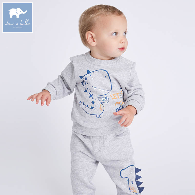 DBM7317 dave bella spring baby boys clothing sets toddler children cartoon suit high quality toddler outfits